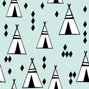 tipi // mint and white kids nursery black and white southwest teepee