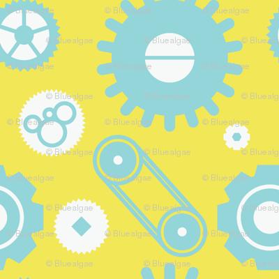 Mechanical gears — blue