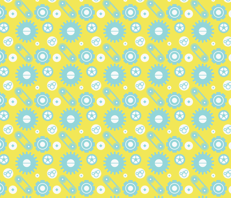 Mechanical gears — blue fabric by bluealgae on Spoonflower - custom fabric