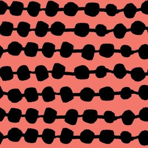 rows of dots // coral black and coral dots rows stripes hand-drawn
