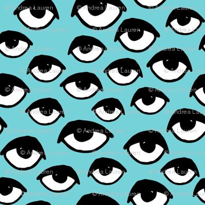 Eyes // aqua tiny version eye fabric pattern fabric print eye design