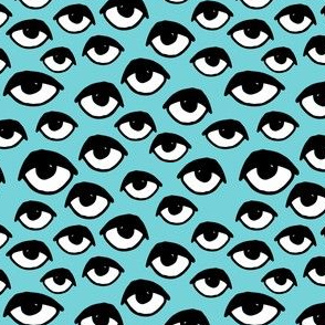 Eyes // aqua tiny version eye fabric pattern fabric print eye design