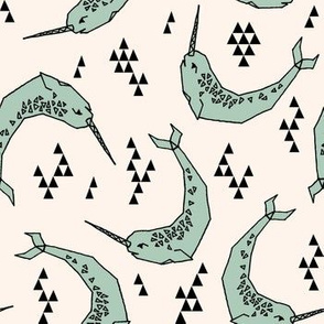 Narwhal // mint and cream narwhals