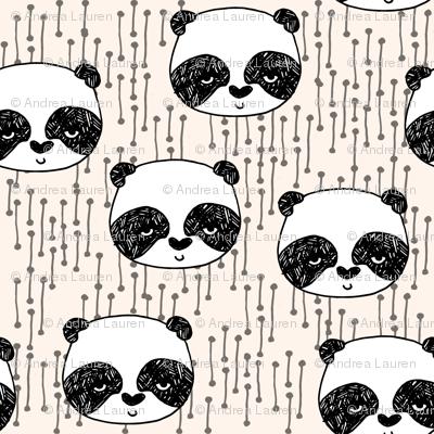 Panda // panda head on cream (small) version