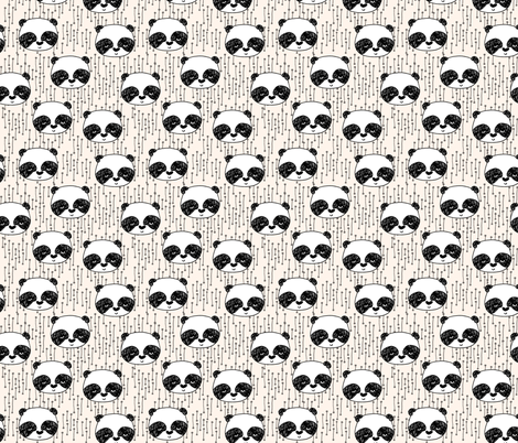 Panda // panda head on cream (small) version fabric by andrea_lauren on Spoonflower - custom fabric