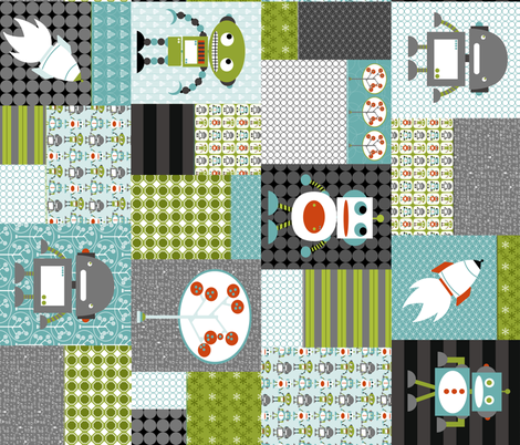 Big Bang Robots fabric by natitys on Spoonflower - custom fabric