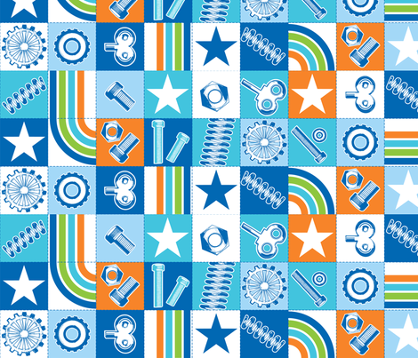 I love robots squares fabric by cjldesigns on Spoonflower - custom fabric