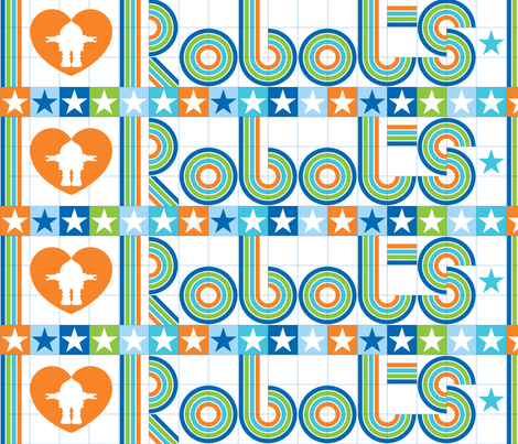 I love robots border fabric by cjldesigns on Spoonflower - custom fabric