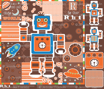 Robot Cheater Quilt and Doll Kit