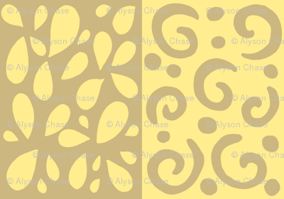 petals and swirls tan/yellow