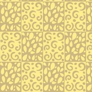 petals and swirls tan/yellow