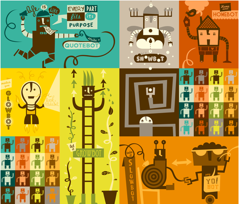 a lot of bots fabric by lien_geeroms on Spoonflower - custom fabric