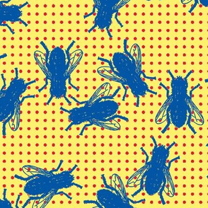 flies blue on red dots yellow background