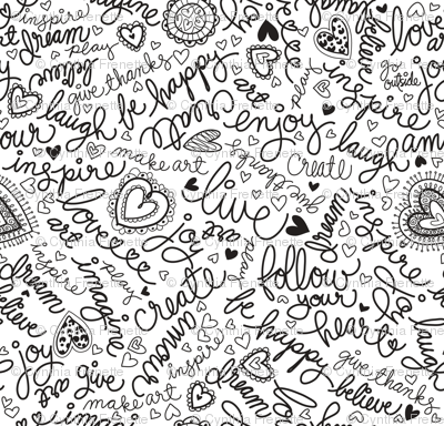Doodle Words Fabric Cynthiafrenette Spoonflower
