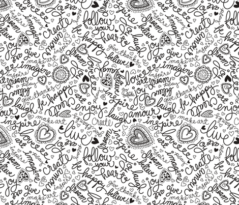 Doodle words fabric by cynthiafrenette on Spoonflower - custom fabric