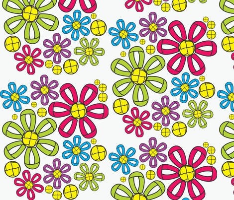 Sewing hardware flowers (buttons and buttonholes) fabric by majobv on Spoonflower - custom fabric