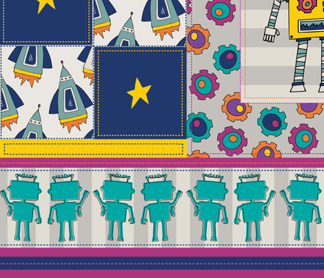 Robots_Sprockets_RocketsQuilt fabric by mamakerribell on Spoonflower - custom fabric