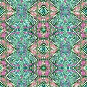 In a Peacock's Eye (zig zag vertical stripe)