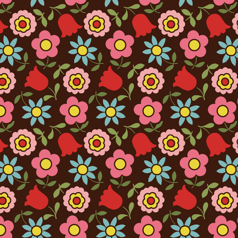 mod_flower - Brown fabric by hoodiecrescent&stars on Spoonflower - custom fabric