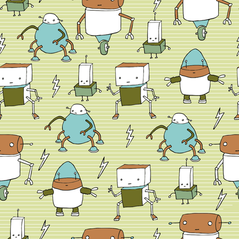 robots-bots fabric by babysisterrae on Spoonflower - custom fabric