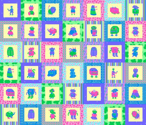 Isabel's Robots Cheater Print fabric by mongiesama on Spoonflower - custom fabric