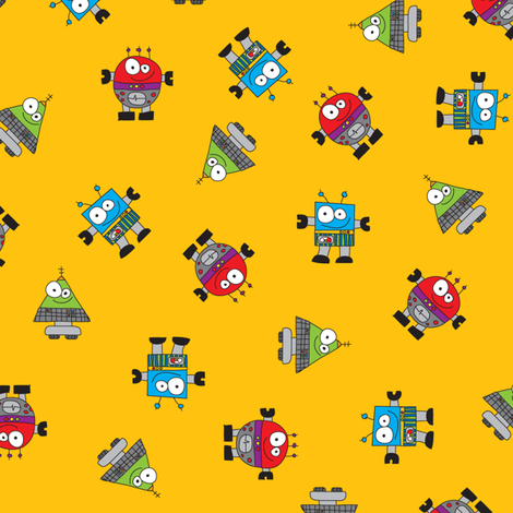 RobotScatterOrange fabric by ghennah on Spoonflower - custom fabric