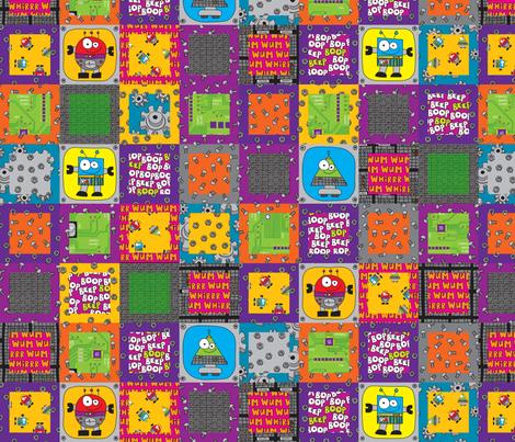 RobotGrid fabric by ghennah on Spoonflower - custom fabric