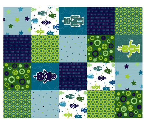 Cuteness Robot Quilt fabric by lellobird on Spoonflower - custom fabric