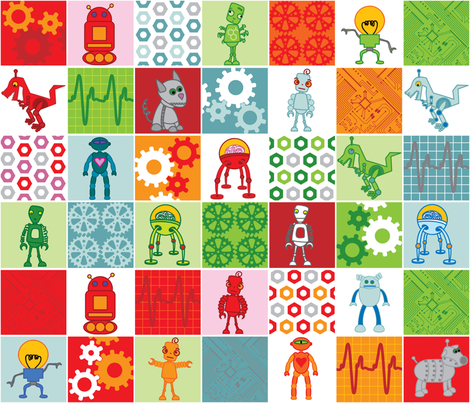 Robotic Chessboard Fat Quarter fabric by upcyclepatch on Spoonflower - custom fabric