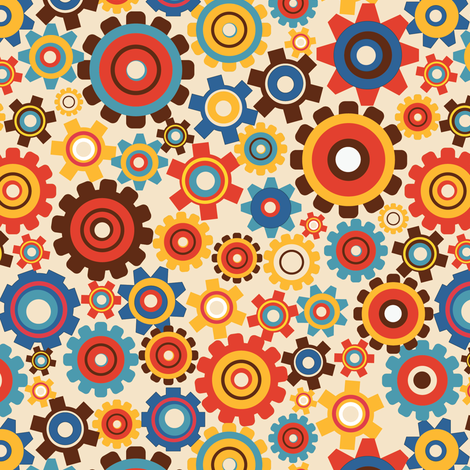 Robot Chase | Lotsa Gears Pattern fabric by irrimiri on Spoonflower - custom fabric