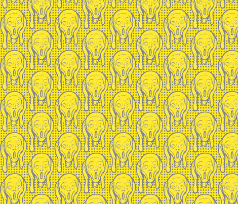 Scream Grey on Yellow fabric by susiprint on Spoonflower - custom fabric