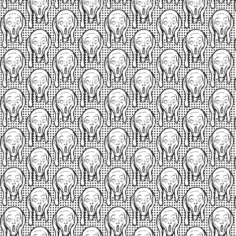 Scream Black on White fabric by susiprint on Spoonflower - custom fabric
