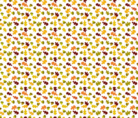 Acorns and oak leaves fabric by carinaenvoldsenharris on Spoonflower - custom fabric