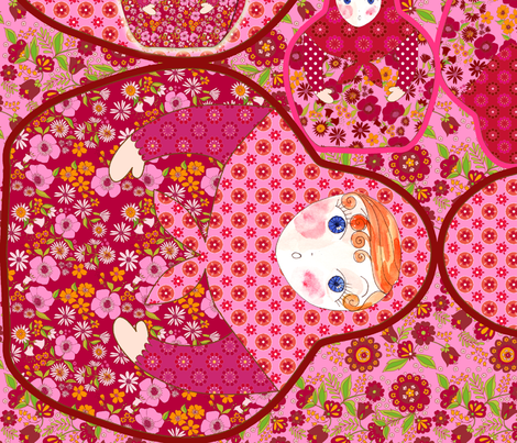 sac poupée russe v rose fabric by nadja_petremand on Spoonflower - custom fabric