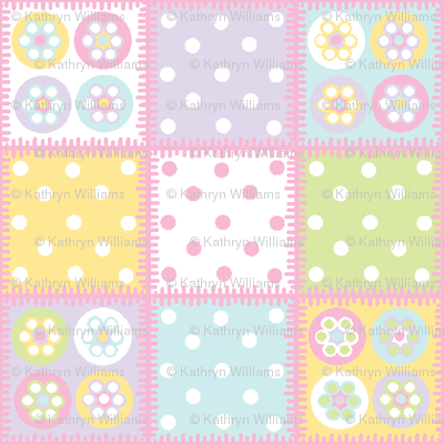 Patchwork with pale pink stitch edging