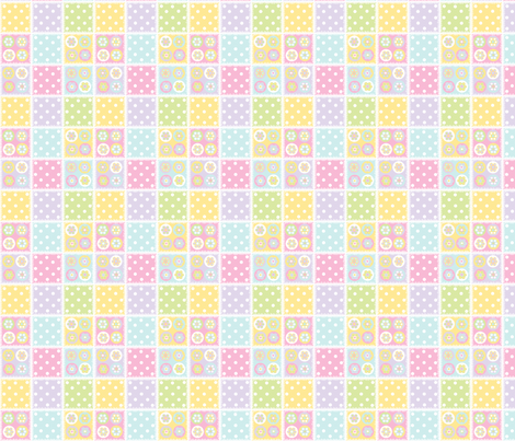 Patchwork in pastels with white stitch edging fabric by squeakyangel on Spoonflower - custom fabric