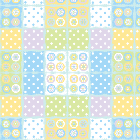 Patchwork with pale blue stitch edging fabric by squeakyangel on Spoonflower - custom fabric