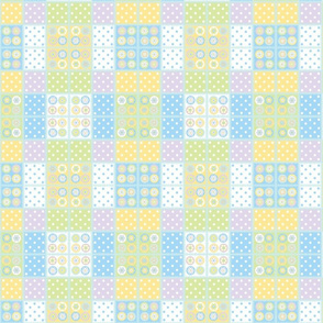 Patchwork with pale blue stitch edging