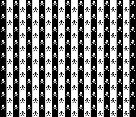 skull and crossbones on one inch stripe - black and white fabric by littlemisscrow on Spoonflower - custom fabric