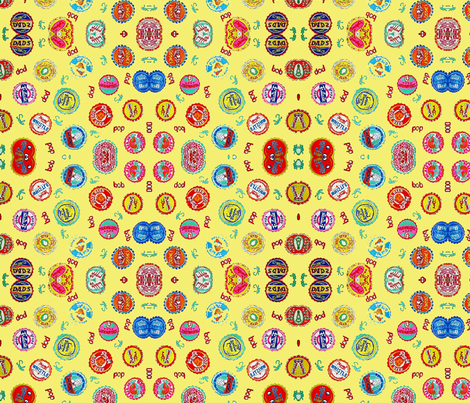 Bottlecaps - yellow fabric by bettieblue_designs on Spoonflower - custom fabric