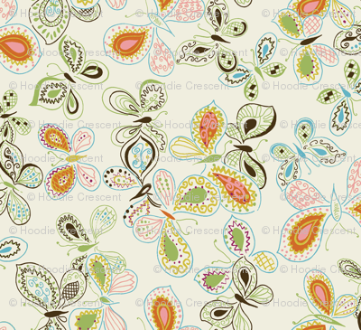 Doodle Butterfly / Cream