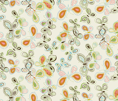 Doodle Butterfly / Cream fabric by hoodiecrescent&stars on Spoonflower - custom fabric