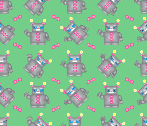 Robotina in Green fabric by brandymiller on Spoonflower - custom fabric