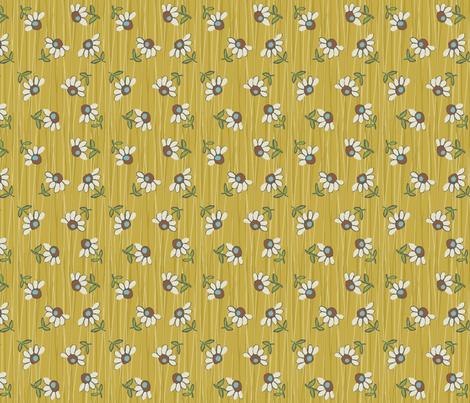 Daisy_Shower-mustard fabric by hoodiecrescent&stars on Spoonflower - custom fabric