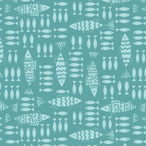 fish_family_aqua fabric by hoodiecrescent&stars on Spoonflower - custom fabric