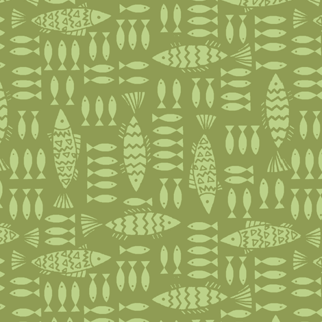 fish_family-lime fabric by hoodiecrescent&stars on Spoonflower - custom fabric