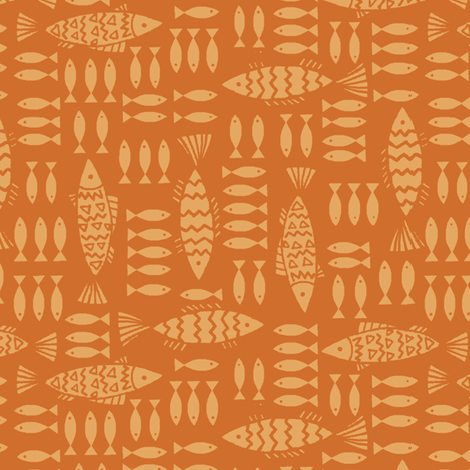 fish_family-orange fabric by hoodiecrescent&stars on Spoonflower - custom fabric