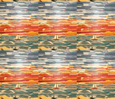 By the sea at Sunset fabric by smint on Spoonflower - custom fabric