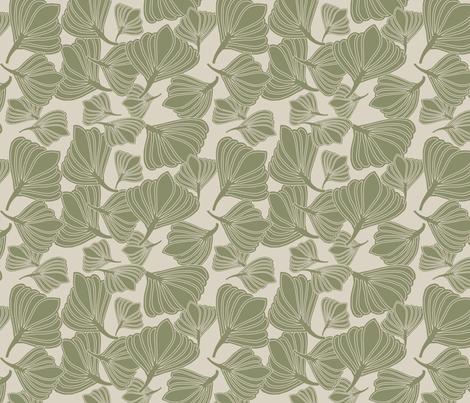 Tulip Seeds Mosstone fabric by leeandallandesign on Spoonflower - custom fabric