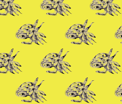 Tiny squid-c yellow green fabric by smint on Spoonflower - custom fabric